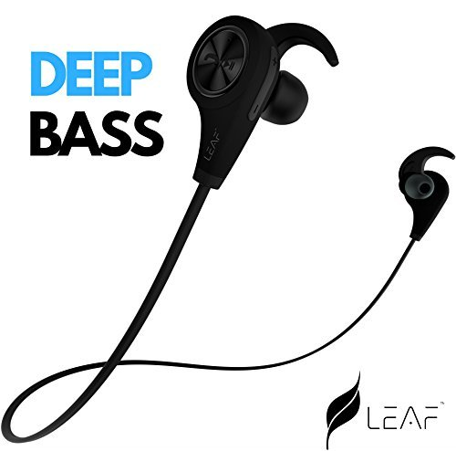 Leaf Ear Wireless Bluetooth Earphones with Mic and Deep Bass (Carbon Black)