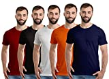 Boodbuck Plain Cotton T Shirts for Men Combo Pack of 5 Tshirts (Size - Large T-Shirt, Color Set- NB, Orange, Black, White & Maroon) Solid Plain Tee Shirts