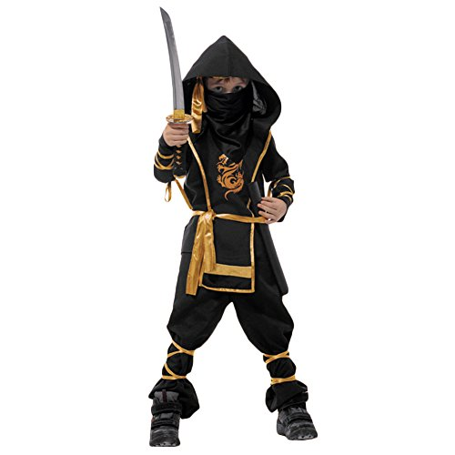 Brave Pioneer Halloween Kinder Ninja Kostüm Assassin Anzug Krieger Kämpfer Set mit Hose Shirt Gürtel Maske Für Karneval Rollspielen Cosplay Theater (M)