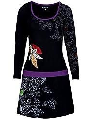 Mesdames robe à manche longue d'été quitter et motif floral Imprimer et broderie