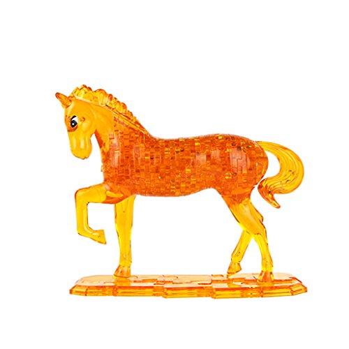 Fenteer 3D Crystal Puzzle DIY Kristallpuzzle Pferd Tiermodell Intelligenz Spielzeug -100 Teilen - Gelb (3d Crystal Puzzle Pferd)