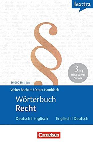 Lextra - Englisch - Fachwörterbücher: Wörterbuch Recht: Deutsch-Englisch/Englisch-Deutsch