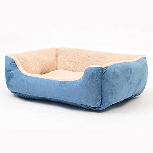 Generic Groß Hunde und Katzenbett mit Abnehmbar Kissen Hundebett Blau eckig Wildleder warm wasserdicht Hundekorb