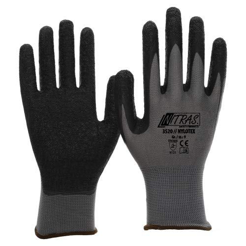 NITRAS Nylotex 3520 Nylon-Latexhandschuhe Arbeitshandschuhe 12 PAAR Größe 11 (XXL) Nylon-handschuh