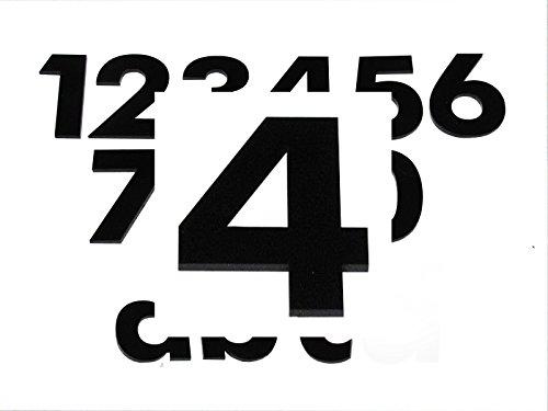 Hausnummer 4 SCHWARZ - HÖHE: 65mm, 3mm dick (KEINE dünne Folie), witterungsbeständig, schönes Design und sehr einfache Montage (kleben statt bohren) HAUSNUMMERN, NUMMER, ZAHL für Haustür, Tür, Briefkasten u. Sprechanlage aus PLEXIGLAS -