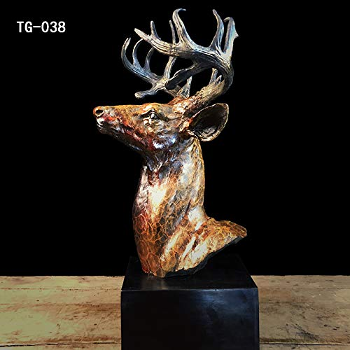 Kunst & Ambiente Große Hirsch Büste - Bronzefigur auf Marmorsockel - signiert Bonheur - Hirschgeweih - Trophäe - Höhe 50 cm - Jagdzimmer Deko - Wild - Skulpturen online kaufen