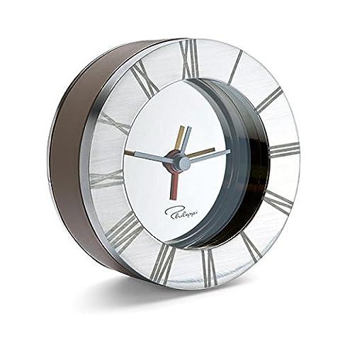 Philippi 'Allegro' Réveil Brun Alarm Clock Voyage cuir Nickel