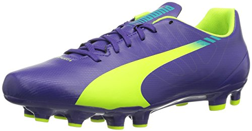 Schuhe Puma 14 Männer (Puma evoSPEED 5.3 FG, Herren Fußballschuhe, Violett (prism violet-fluro yellow-scuba blue 01), 45 EU (10.5 Herren UK))