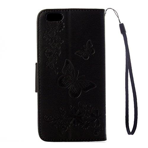 iPhone X Custodia, COOSTOREEU Copertura della cassa del basamento del supporto del raccoglitore di cuoio dellunità di elaborazione della farfalle per Apple iPhone X,Rosa Nero