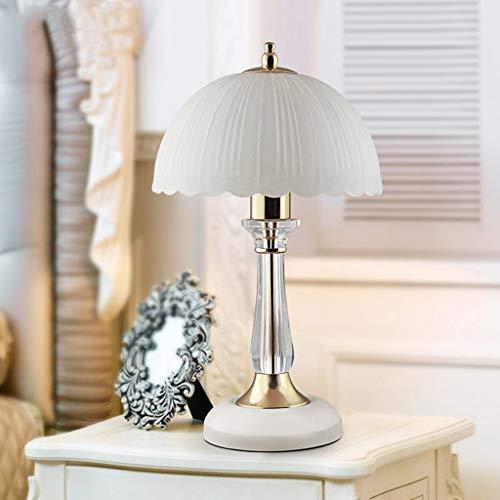 FNCUR LED Chip Europäischen Kristall Schlafzimmer Nachttischlampe Europäischen Stil Retro Stil Lampe Glas Dimmen Warmes Licht Hochzeit Tischlampe (Chips Europäische)