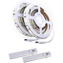 Kit de Tiras de Luces LED, ALED LIGHT 2 Unidades Tira de Luz del Sensor de Movimiento, para Escalera, Luz de Noche, Armarios de Cocina, Cama, ...