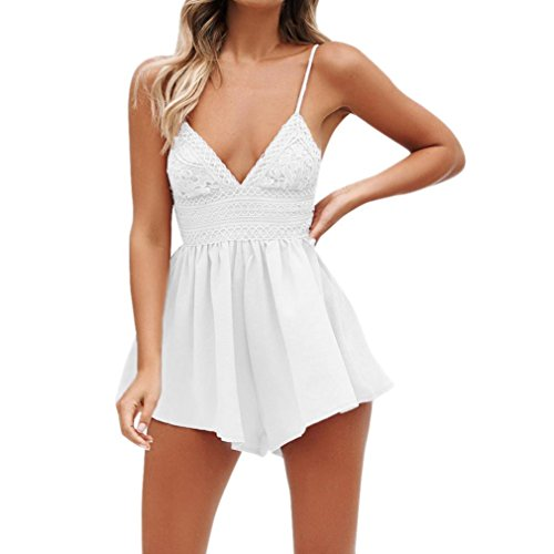 Jumpsuit Damen Sommer Hevoiok Chiffon Sexy Beiläufig Bowknot Rückenfrei Party Strand Overall Mini Playsuit Romper Jumper Kurz Strandkleid (Weiß, M) - Weißer Jumpsuit