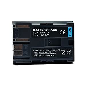 """Batterie BP-511A Li-ion pour CANON CANON OPTURA Pi, ZR-10, 20, 25mc, 30mc, 40mc et 50mc. 100% compatible """"Ultra capacité 1600mAh."""