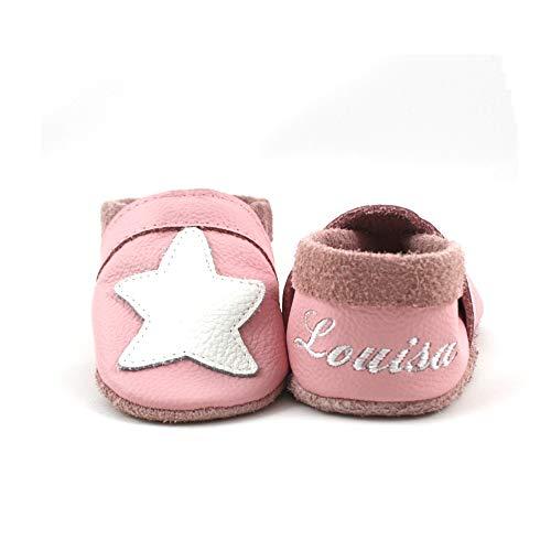 little foot company® 8242 Krabbelschuhe Babyschuhe Lauflernschuhe mit Namensstickerei Seestern weiches Leder rosa 20/21 ca. 1 1/2-2 Jahre
