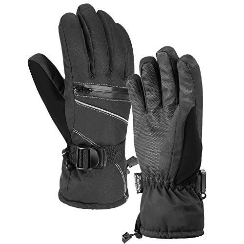 Guanti da sci, guanti invernali da uomo Fazitrip 3M Thinsulate, guanti impermeabili, con funzione touch screen sensibile, per attività all'aperto, come lo sci, il ciclismo, ecc.i (Black, M/L)