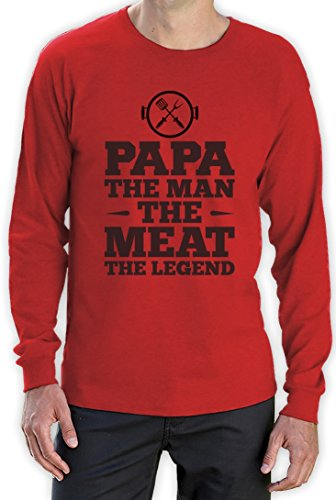 Papa The Man The Meat The Legend - Shirt Geschenkidee Langarm T-Shirt Rot