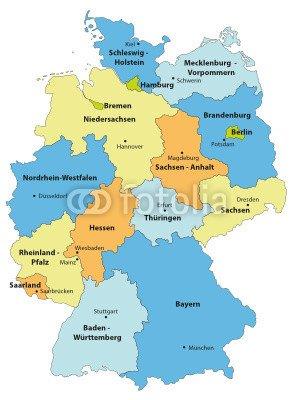 """Leinwand-Bild 90 x 120 cm: \""""Deutschlandkarte cmyk farbig\"""", Bild auf Leinwand"""
