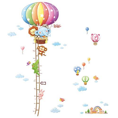 Decowall DAT-1606N Gráfica de Altura de Globo Aerostáticos de Animales Vinilo Pegatinas Decorativas Adhesiva Pared Dormitorio Salón Guardería Habitación Infantiles Niños Bebés