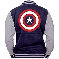Capitán América Logo Cazadora tipo universitario gris sport/Azul Marino S