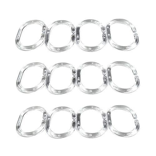 TEBAISE Duschvorhangringe Duschvorhanghaken 12 Stück-Set Kunststoff-Befestigungs-Ringe für Duschvorhänge Duschvorhanghalter Transparent aus Kunststoff Basic