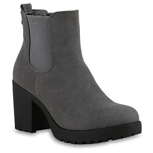 Stiefelparadies Damen Stiefeletten Chelsea Boots Gefütterte High Heel Booties Leder-Optik Schuhe Profil 129132 Grau Grau Camargo 37 Flandell