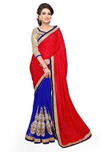 SOURBH Women's Jacquard,Faux Georgette Half Half Saree (703_Red,Blue)  available at amazon for Rs.995