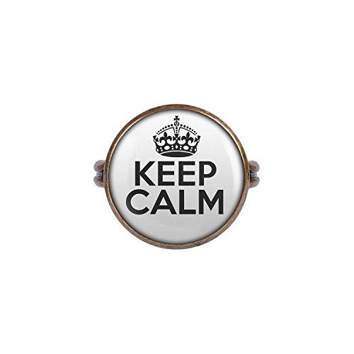 Mylery Ring mit Motiv Keep Calm bronze 16mm (Becher Kostüm)