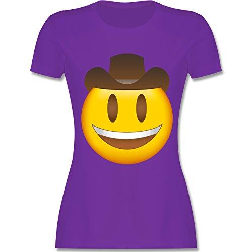 Shirtracer Comic Shirts - Emoji Cowboy-Hut - Damen T-Shirt Rundhals Lila