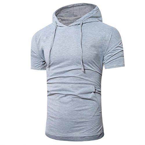 Uomo unisex maglione con cappuccio tasca immagine manica corta,yanhoo® uomini moda estate hooded pullover uomo t-shirt a maniche corte (m, grigio)