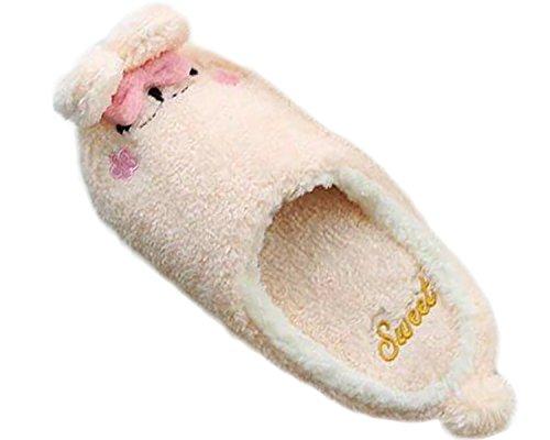 Minetom Donne Pantofole Calde Autunno Inverno Morbido Scarpe Antiscivolo Casa Bowknot Cartone Animato Slippers Pink