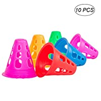 Vorcool 10 Pcs Plastic Sport / Multipurpose Training Cones for Indoor Outdoor Activities Soccer, Roller Skating, Etc (Random Colour)
