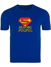 Männer T-Shirt blau mit Spruch Super Papa Geschenk Geburtstag Vatertag