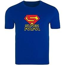Krause & Sohn Hombres Camiseta de Color Azul, diseño con Texto Super Papa Regalo Cumpleaños