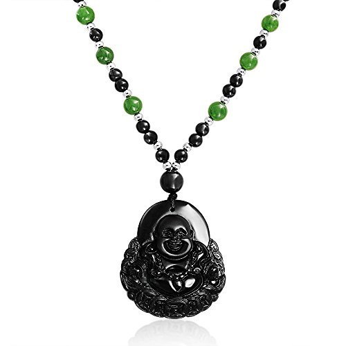 Bling Jewelry Laughing Buddha Obsidiana Jade...