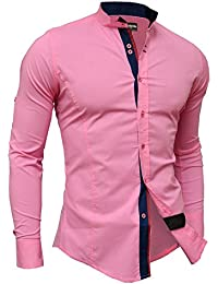 D&R Fashion Elegant Men's Shirt with Stand-Up Collar and Decorative Fastening Slim Fit Many Colours