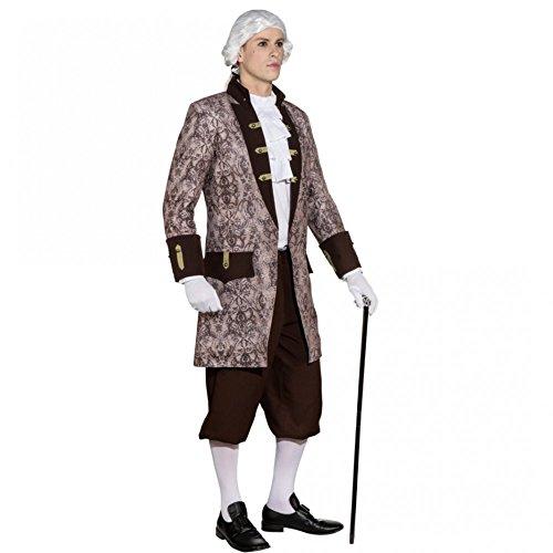 Herren Jacke Ornament Kostüm Gr. 46- 60 Baron grau/braun Fasching Barock Karneval (46/48)
