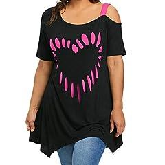 Idea Regalo - Camicia da Donna Taglie Forti Estivi Unico Manica One Shoulder Corta Magliette Elegante Relaxed Fashion Tempo Libero Irregular off Shoulder Tops Camicetta (Color : Pink, Size : 3XL)