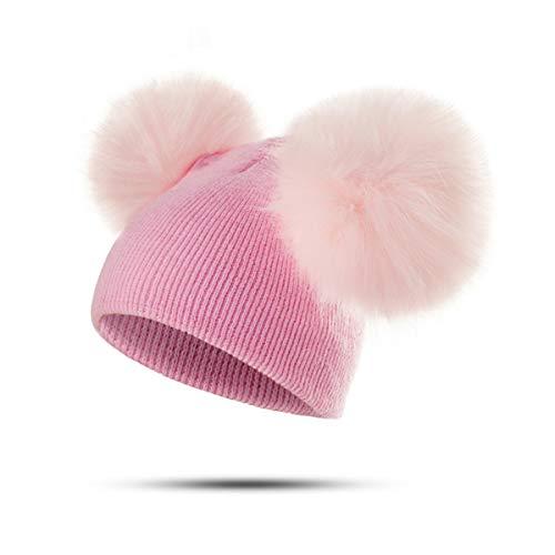 Peng sheng anni carino colore della caramella copricapo per bambini bambino doppia palla cappello lavorato a maglia imitazione forma di volpe capelli staccabili palla autunno e inverno cappello ca