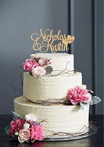 Vornamen-Tortenaufsatz für Hochzeit, mit Herz, goldfarben, silberfarben
