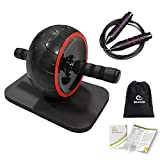 Benificer Roue Abdominale Polyvalente (3 en 1) AB Wheel Roller de Fitness et Musculation de abdominaux Wheel avec Corde à Sauter et Tapis Epais pour Genoux