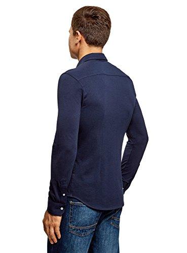 oodji Ultra Herren Tailliertes Jersey-Hemd Blau (7900N)