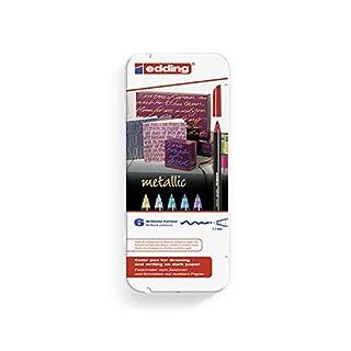 Edding 4-1200-6 Fasermaler 1200 Color Pen, 1 - 3 mm, 6-er Set, sortiert, metallic