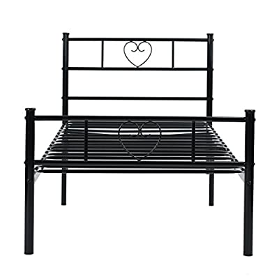 SUNDELY® Black 3ft Single Metal Bed Frame Heart Shape Lovely Sturdy Bedstead For Teens Adults with 2 Headboards - low-cost UK light shop.
