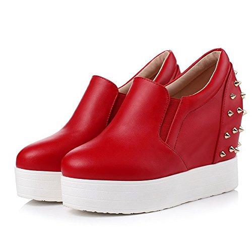 AllhqFashion Damen Ziehen Auf Rund Zehe Hoher Absatz Pu Rein Pumps Schuhe Rot