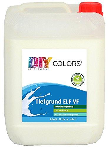 DIY Colors Tiefgrund ELF VF 5l (Größe wählbar) - Acryl Tiefengrund verarbeitungsfertig für innen und außen, Haftgrund, hochwertige Spezial-Grundierung in Maler- und Handwerkerqualität, Haftbrücke