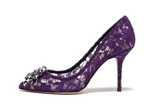 uBeauty Escarpins Dentelle Femmes Diamant Pointues Toe Chaussures de Mariage Stilettos Usure Parti Violet