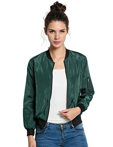 Keland Damen Satin Bomberjacke im lässigen College-Jacken-Style Langarm Kurz Blousonjacke