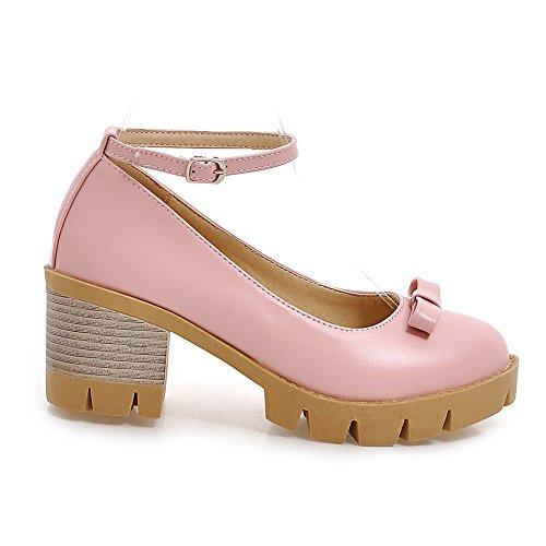 Cinturino Alla Taoffen Scarpe Donna Bowknot Piattaforma Caviglia Blocco Da Eleganti Rosa Scarpe wqIawXH