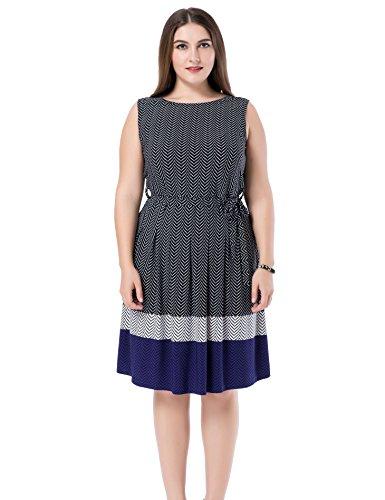 Chicwe Damen Kleid Große Größen Ärmelloses mit Aufgedrucktem Zickzack 54, Schwarz (A-linie Petite-denim Rock)