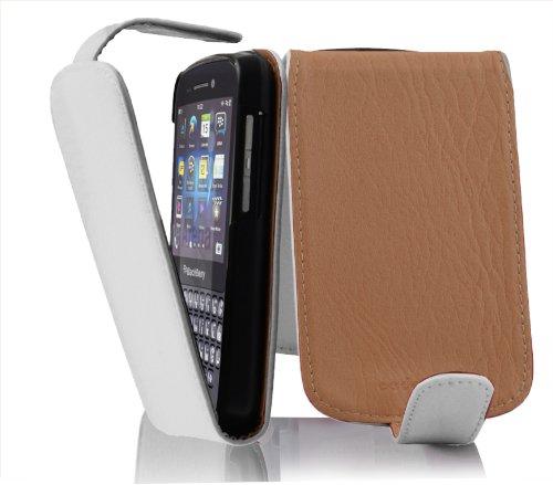 Cadorabo Hülle für Blackberry Q10 - Hülle in MAGNESIUM WEIß – Handyhülle aus strukturiertem Kunstleder im Flip Design - Case Cover Schutzhülle Etui Tasche